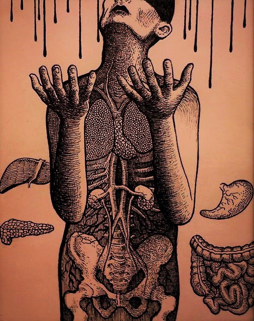 Human Figure Collecting Blood Rain
